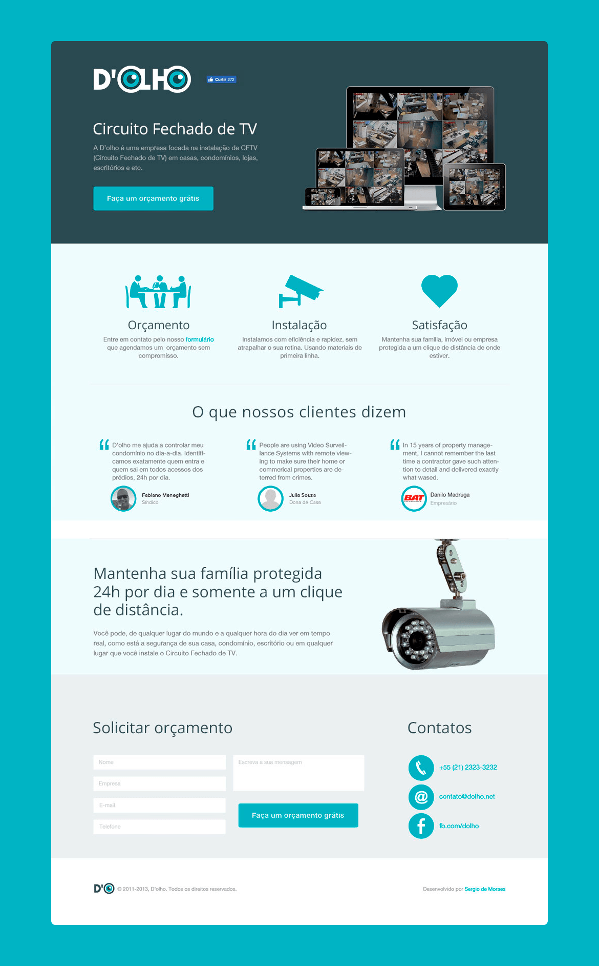 D'olho - Landing page