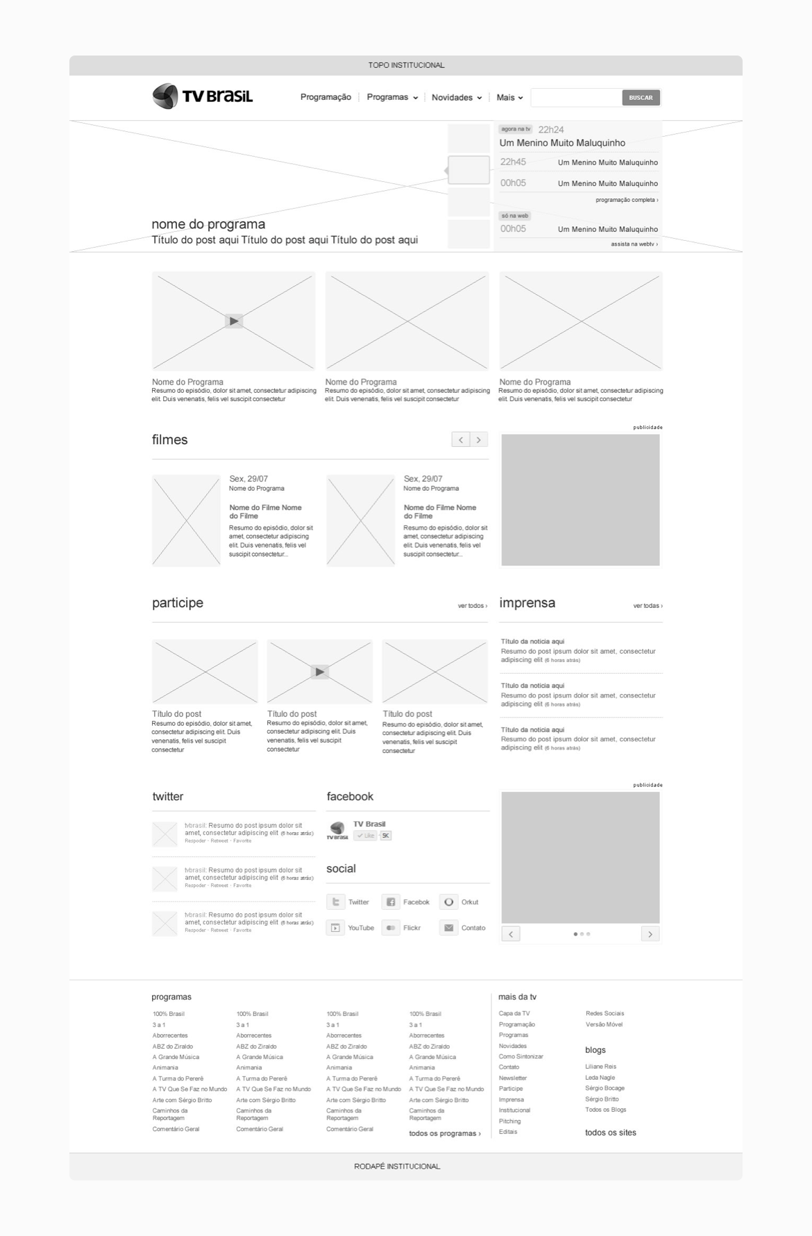 Wireframe - TV Brasil - Home